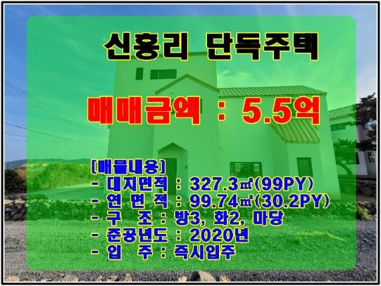 신흥리 바닷가 2차선 인근 서우봉이 보이고 마당이 있는 2층 단독주택  사진정보